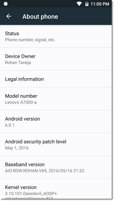 lenovo a7000 dare aosp about phone