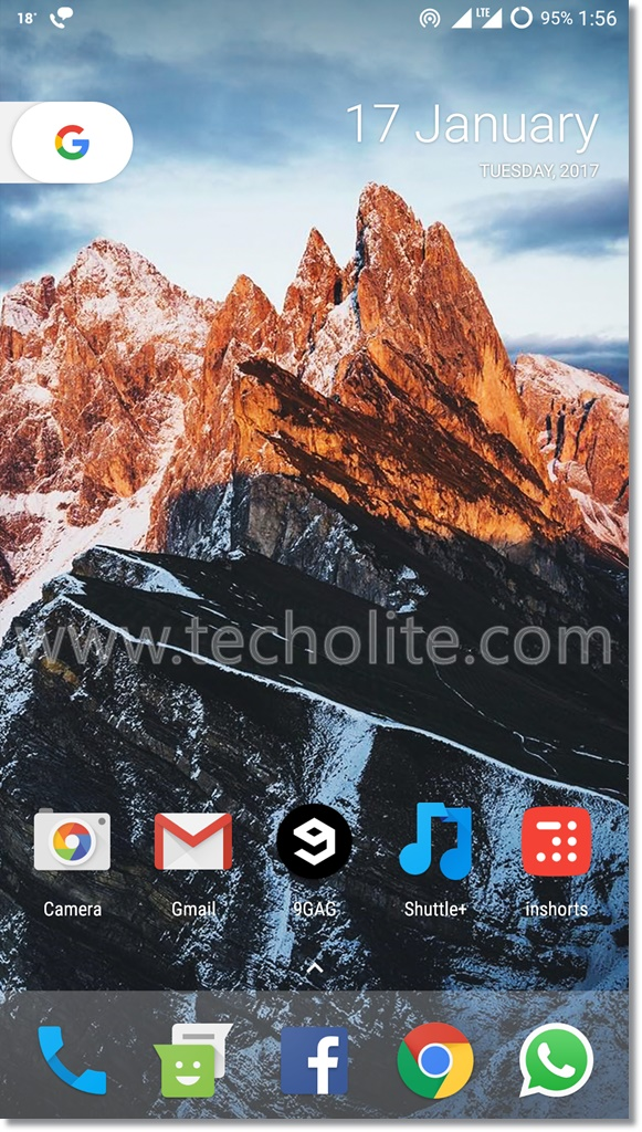 lenovo vibe p1m nougat home screen
