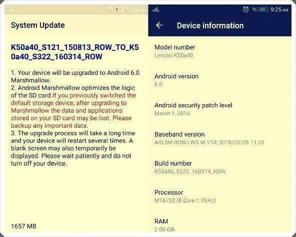 lenovo k3 note marshmallow 6.0 update